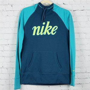 Nike Therma-Fit Navy, Aqua, & Lime Mesh Hoodie M
